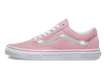 Womens Pink Checkerboard Vans Old Skool Skate Shoes with Swarovski Crystals efb40f9c2