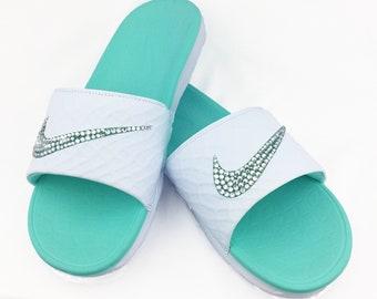 5ed24d52396ca0 Nike Benassi Solarsoft Slide White Teal Women Sandals with Swarovski  Crystals
