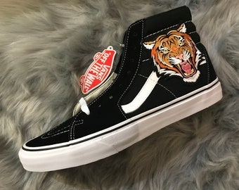 Embroidered Tiger Patch Custom Black Vans Sk8 Hi Skate Shoes a7024297233d