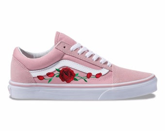 c363eddf05 Embroidered Rose Buds Patch Custom Pink Vans Old Skool Skate Shoes
