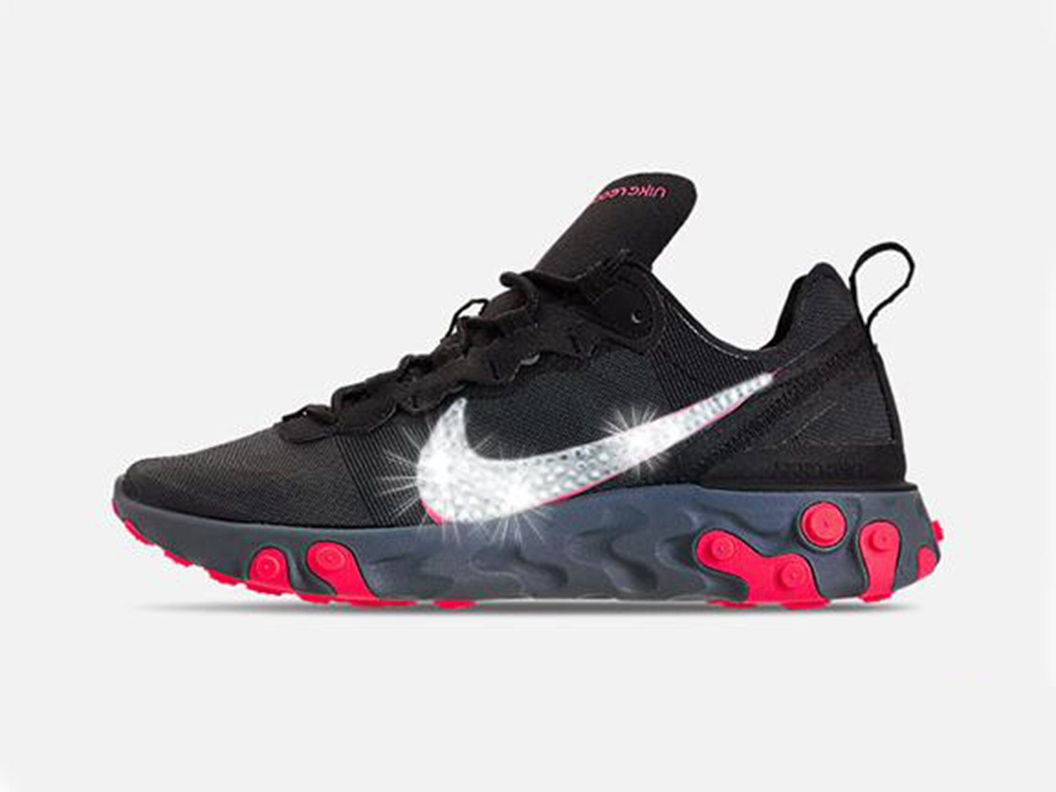 black Nike Grey With Solar Swarovski React Cool 55 Crystals Red Element Shoes q4rf4St