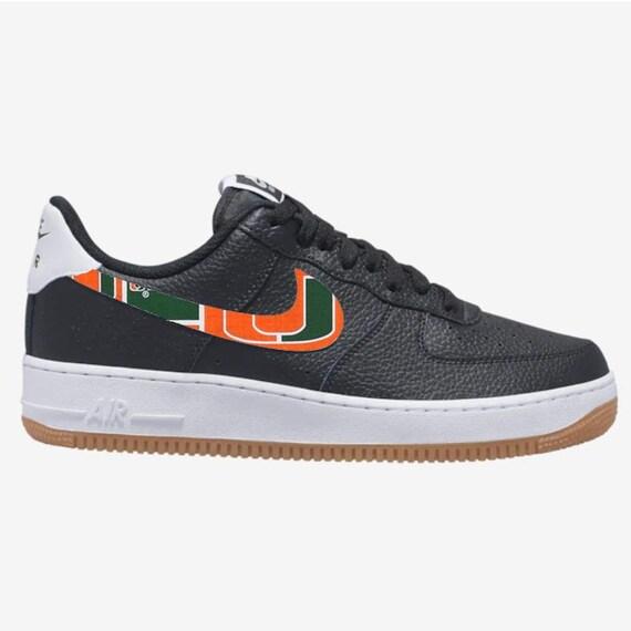 Miami Hurricanes Custom Nike Air Force 1 Black Gum Men's | Etsy