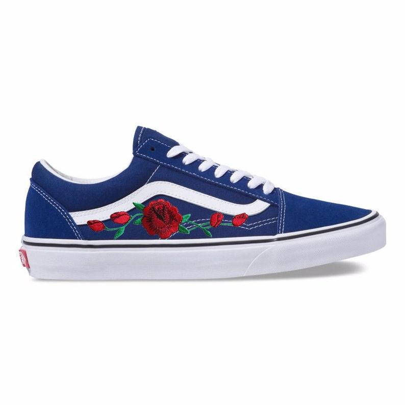 784fddab1965 Embroidered Rose Buds Patch Custom Blue Vans Old Skool Skate