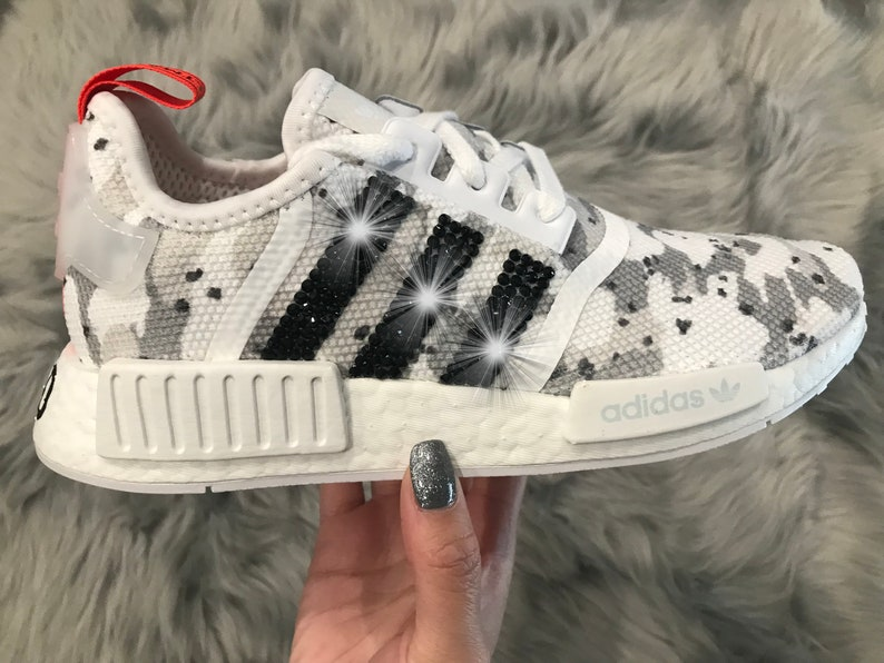 10a76a0bee26b Adidas NMD White Camo Women Shoes with Swarovski Crystals | Etsy