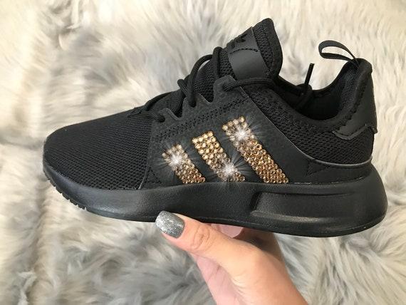 Adidas XPLR Black Gold Girls Womens Shoes with Swarovski Crystals