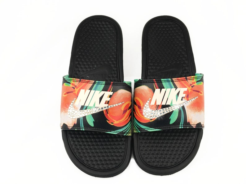 28ff96dc255a6 Nike Benassi JDI Print Slide Black Floral Women Sandals with