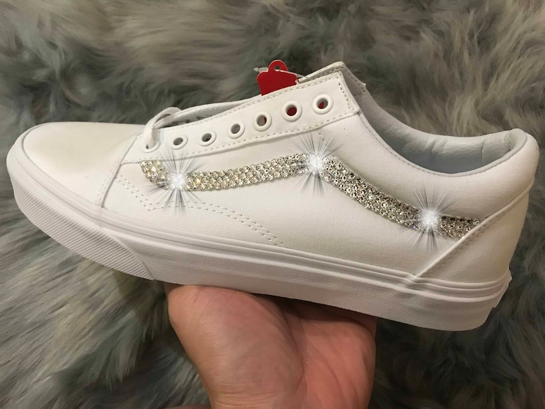 ca3196f2cf5da Womens White Vans Old Skool Skate Shoes with Swarovski Crystals