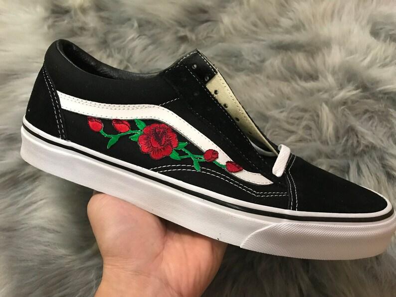 Gestickte Rose Knospen Patch benutzerdefinierte schwarzen Vans Old Skool  Skate Schuhe