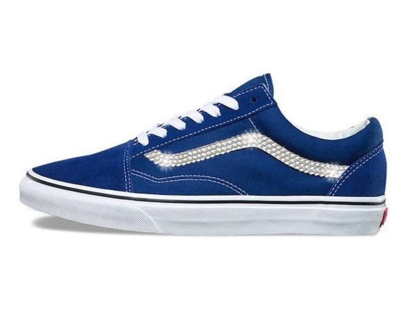 Womens Estate Blue Vans Old Skool Skate Shoes with Swarovski  025a16015f