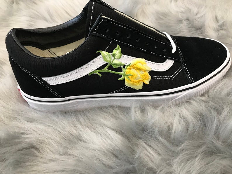 bf06609cb6ce Embroidered Single Yellow Rose Patch Custom Black Vans Old