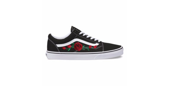 Custom Rose Applique Vans Vans Roses Womens Sneakers
