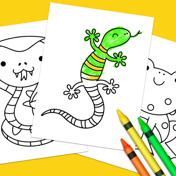 Cute Reptile And Amphibian Coloring Pages Etsy