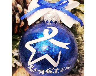 Blue Awareness Ribbon Stained Glass Ornament Colon Etsy