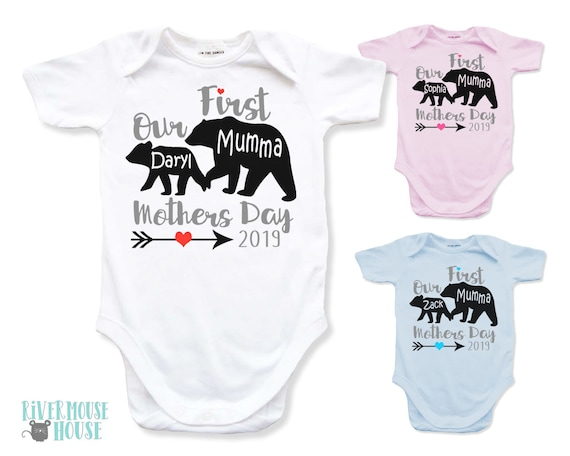 45f518e7e Mumma Bear Baby Bear Onesie Personalised Our First Mothers