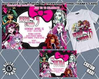 photo regarding Free Printable Monster High Invitations identified as Monster large invitation Etsy