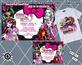 photo regarding Free Printable Monster High Invitations identified as Monster large invitation Etsy