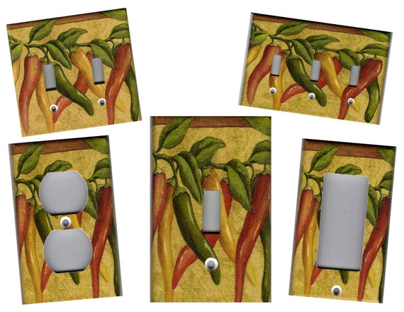 CHILI PEPPERS ON VINES KITCHEN HOME DECOR LIGHT SWITCH PLATE