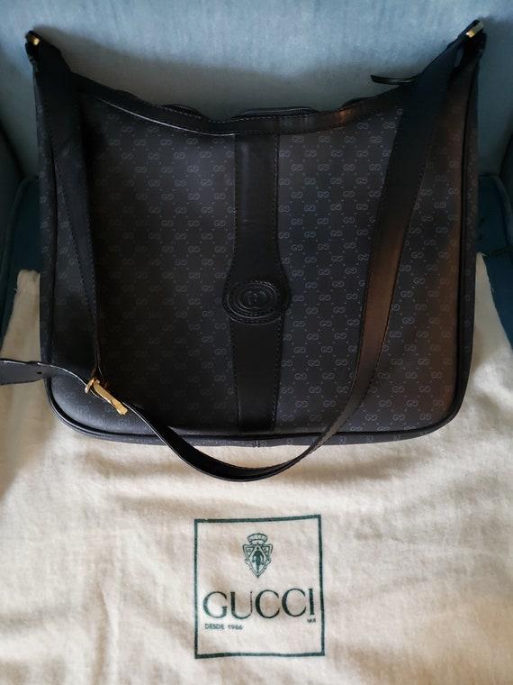 85c5af3122af Vintage 1966 Gucci Black Hobo Bag | Etsy