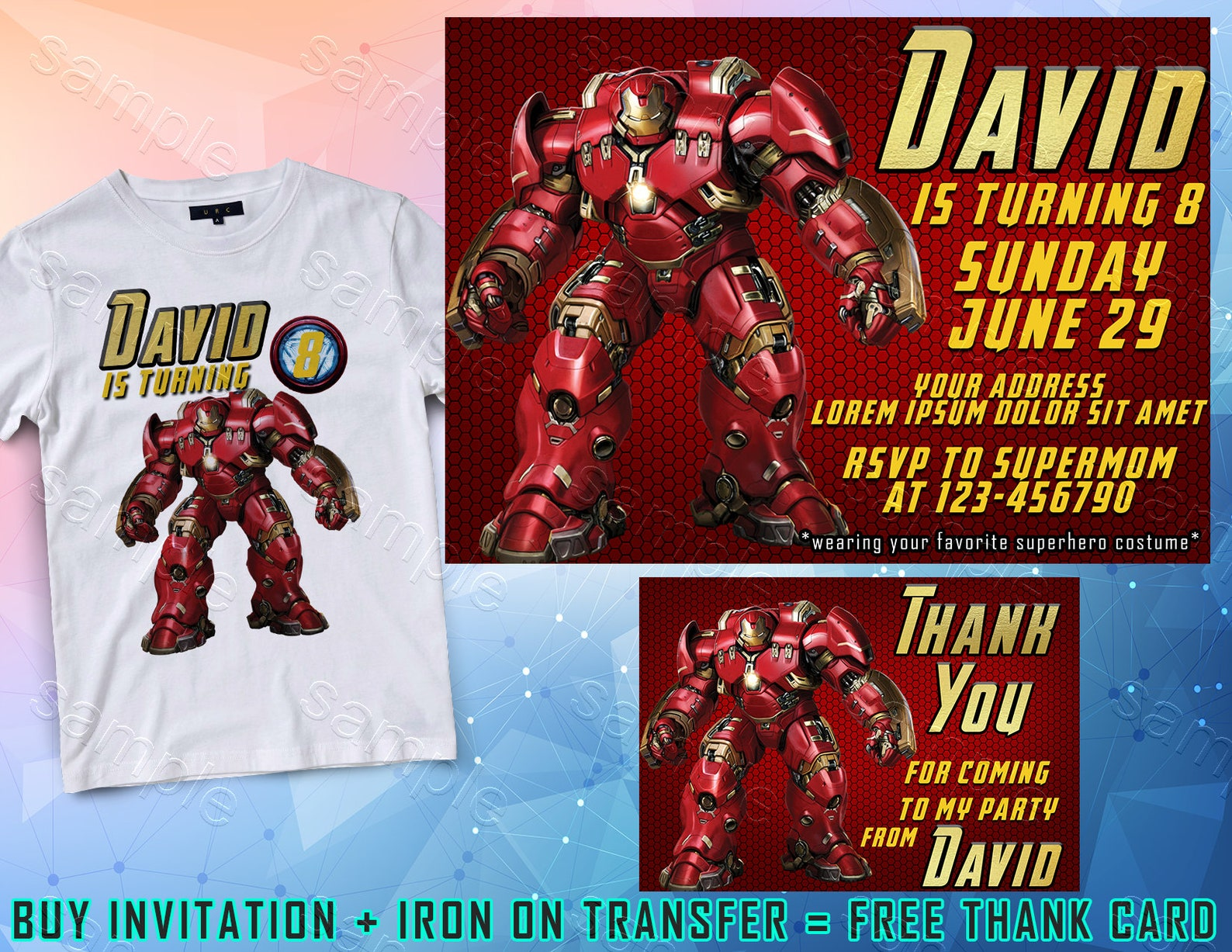 Printable Iron Man Party Invitations Page Three