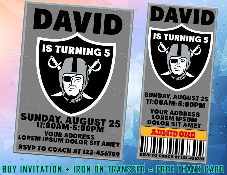 Oakland Raiders Ticket Invitation Oakland Raiders Iron On Transfer Oakland Raiders Invitations Oakland Raiders Birthday Party Oakland