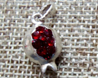 1pc Small silver pomegranate pendant with leaf 3.6*1.8