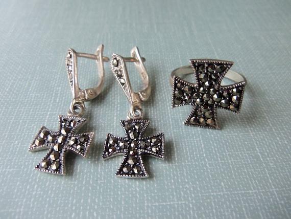 925 STERLING SILVER MARCASITE pendant marcasite cross pendant armenian jewelry cross armenian necklace marcasite cross charm armenian gift