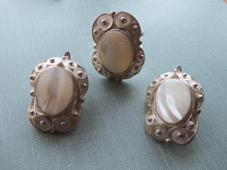 WHITE SADAF GEMSTONE sterling silver jewelry armenian white gemstone earrings tudor jewelry vintage earrings armenian gifts armenian jewelry