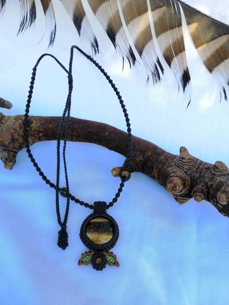 Tigers eye leaf necklace