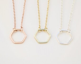 Simple necklace etsy simple necklace geometric necklace bridesmaid gift minimalist gift hexagon necklace in gold silver rose gold fashion love aloadofball Images