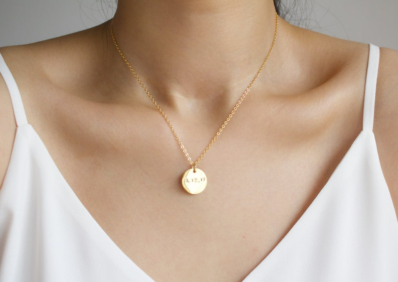 Anniversary Gift Date Necklace Gold disc Necklace Personalized Gift Gift for women Numerical Necklace