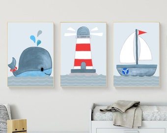 Pictures maritim nursery | Children's Poster Whale | 3 Art Prints | A4 Pictures of children | Poster Set | Nursery Decoration Young Girls