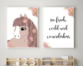2Er Poster Set Kinderzimmer Mädchen Pferd sei frech, wild und wunderbar Kinderzimmer Deko Mädchen rosa Geschenk Tierposter Sprüchposter