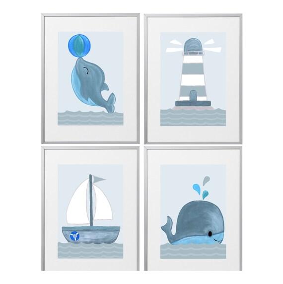 Poster Kinderzimmer maritim | Kinderzimmer Deko Junge Mädchen |  Kinderbilder Set A4 | Bilder Babyzimmer Wal