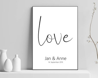 Couple Poster Love Personalized with Name Date, Personalized Gift for Couples Love Statement Engagement Anniversary Wedding Anniversary