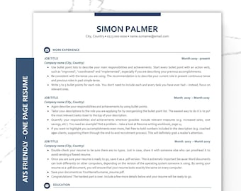 executive resume template ats friendly resume instant download one page cv cover letter template free resume writing workbook