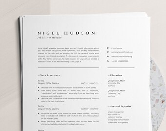 Clean Resume Template with Icons, Instant Download Modern Resume and Cover Letter Template for Word