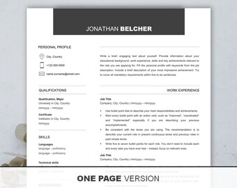 cv template free resume writing workbook 1 2 page resume etsy