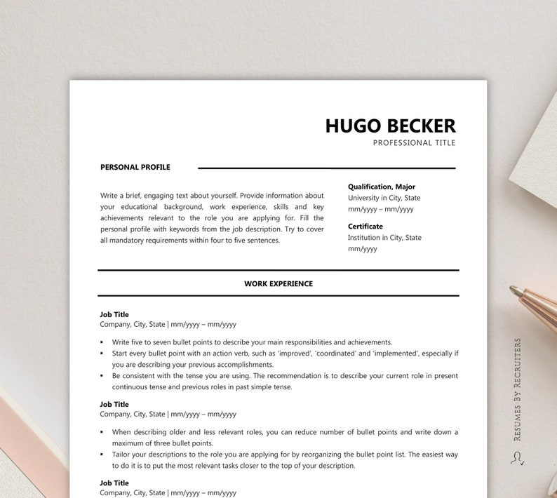 Minimalist CV Resume Template / Instant Download 1 and 2 Page CV with Cover  Letter in Word / Black and white Business CV, Executive Resume