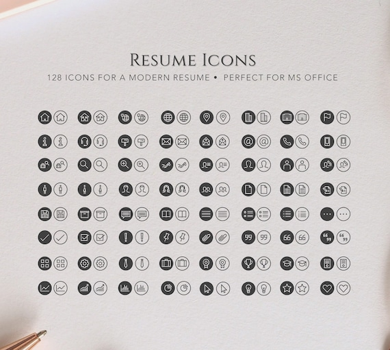 Resume Icons Instant Download Recolorable Icon Set For A Etsy