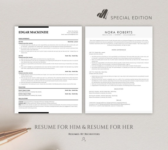 Two Ats Friendly Resume Templates Instant Download Word Cv Etsy