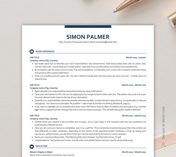 Executive Resume Template Ats Friendly Resume With Icons Etsy