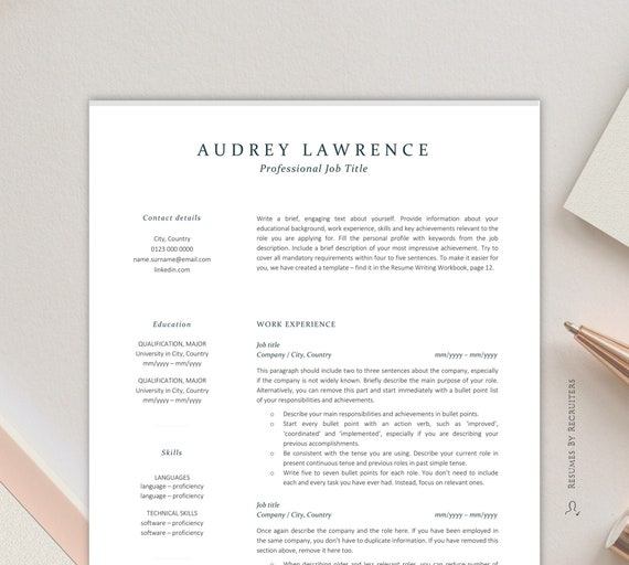 Elegant Resume Template For Finance Instant Download Cv Etsy