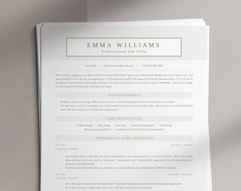 ATS Resume Template, Download Functional ATS-optimized CV Design for Creative Industries, Easy to Edit Resume Template for Corporate Jobs