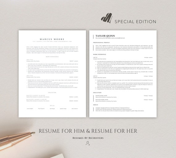 Ats Friendly Resume Templates Instant Download Two Cv Etsy