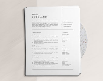 Modern Resume Template for Word, One-, Two-, Three- Page CV with Matching Cover Letter, Instant Download Modern Resume Template with Icons