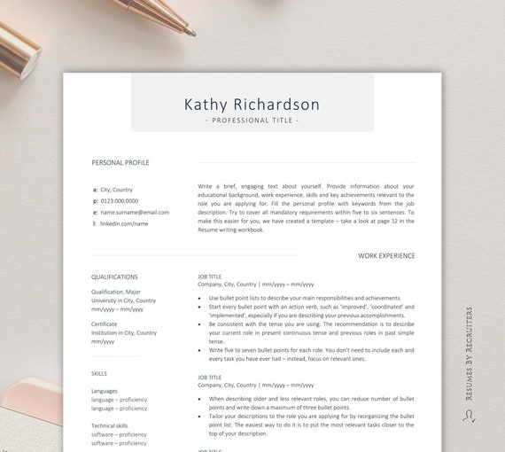 Professional Resume Template FREE Writing Workbook Instant Download CV For Word Teacher Personal Assistant