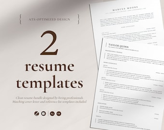 ATS Resume Templates for Pages and Word, Instant Download ATS Resumes, Two Minimalist ATS Optimized Resumes, Resume Bundle, Corporate Design