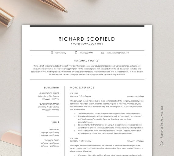 Minimalist Resume Template With Icons Clean And Professional Etsy