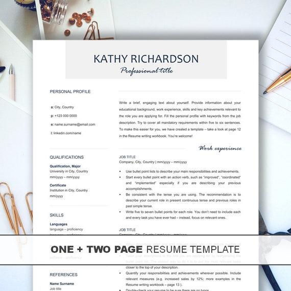 professional resume template free resume writing workbook etsy