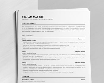 Google Docs Resume Template, Instant Download CV, Classic ATS Resume Design, Easy to Edit Resume for MS Word, Mac Pages and Google Docs